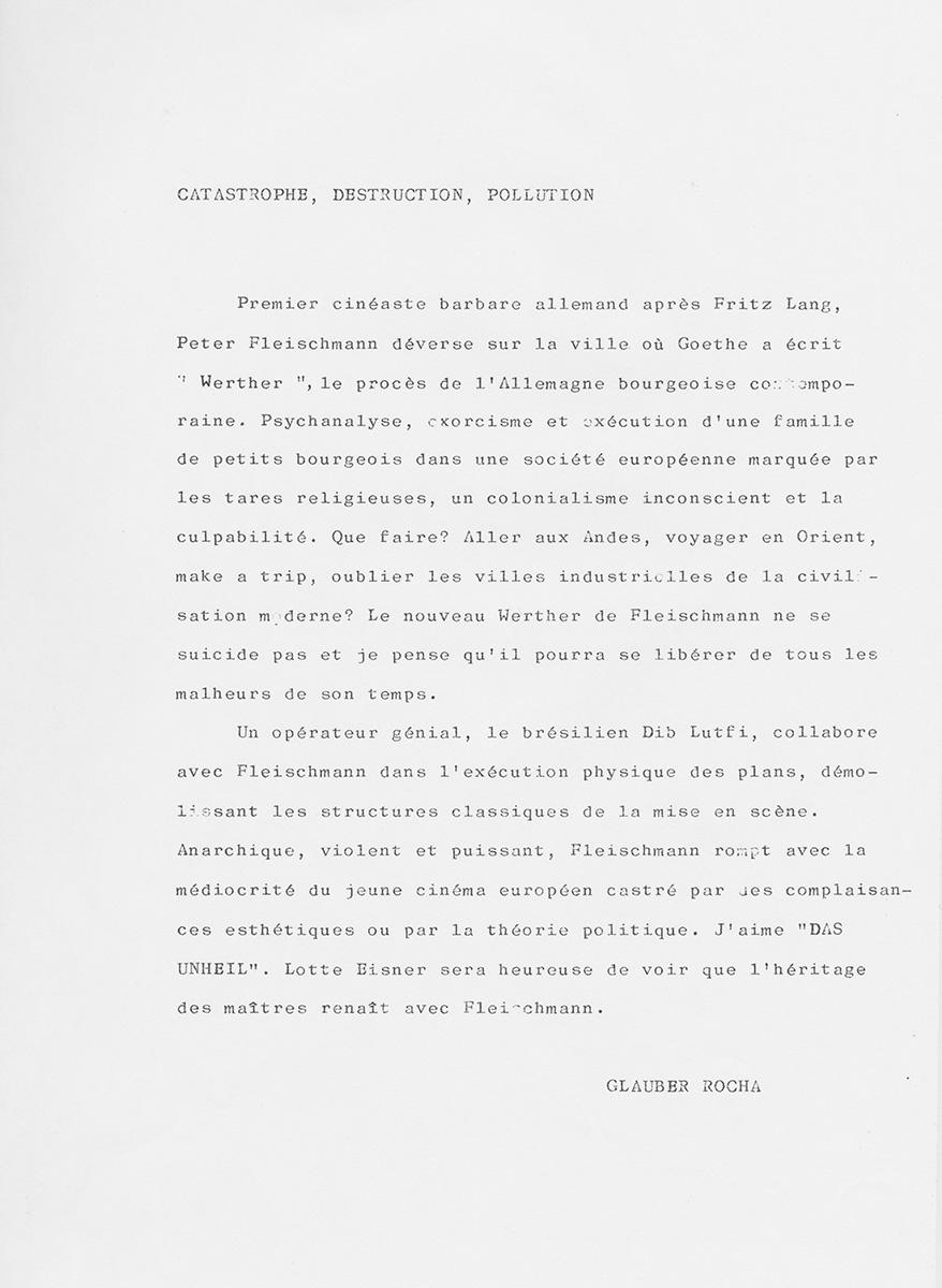 Brief Clauber Rocha französisch