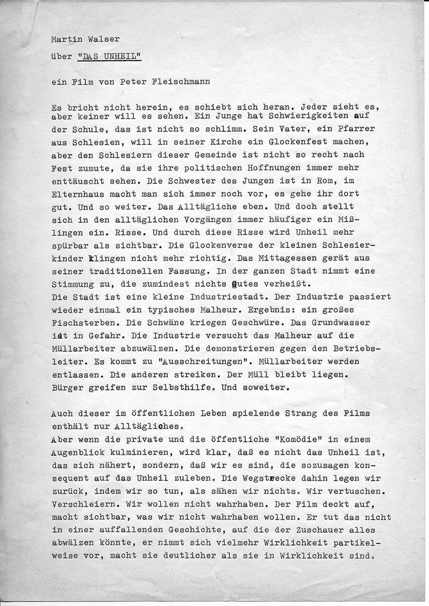 "Martin Walser über ""Das Unheil"" Blatt 1"