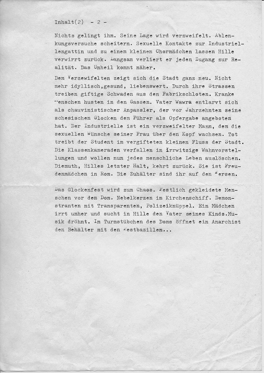 "Martin Walser über ""Das Unheil"" Blatt 2"