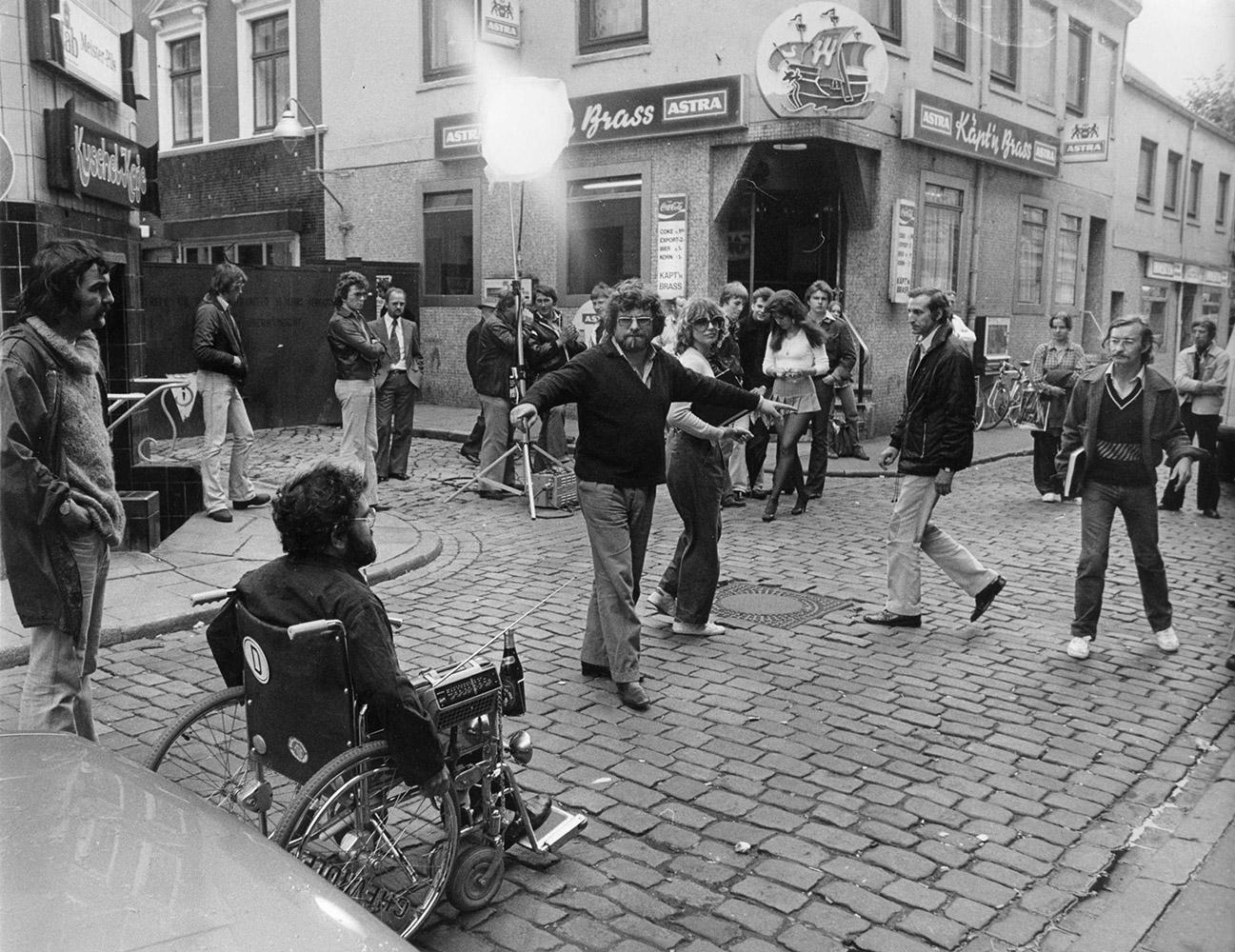 """Während der Dreharbeiten zu """"Die Hamburger Krankheit"""" in Hamburg"""