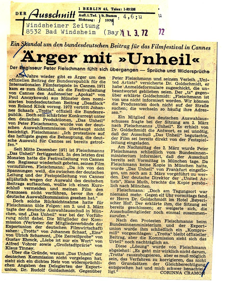 Windsheimer Zeitung 11.3.1972